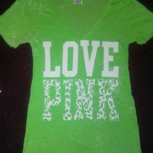 Lime green love pink tshirt